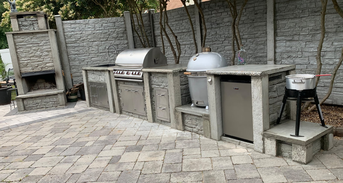 Image of: Outdoor Kitchen Solid Concrete Outdoor Kitchen